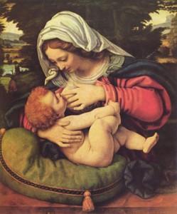 """Virgin on the Green Cushion"" by Andrea Solario"